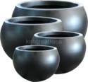 Black Fiberglass Matt Round Planter Pot