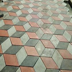 Red And Black Gray 3D Paver, Size: Medium