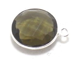Smoky Quartz Silver Plated Bezel Connectors