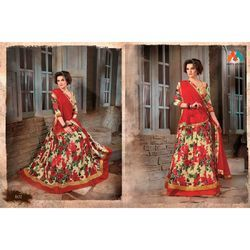 Beautiful Red Floral Print Lehenga