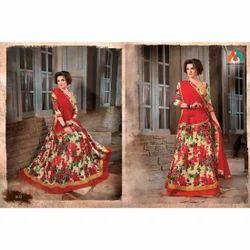 Beautiful Red Floral Print Lehenga