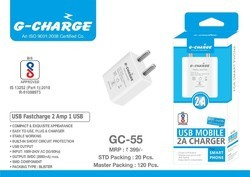 USB 2 Amp Charger With USB Charging Cable