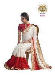 White and Red Color Jacquard Saree