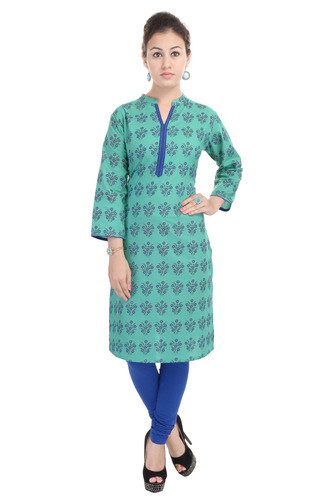 Cotton Turquoise Color Printed Kurti, Size: XL