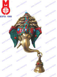 Bell & Stone Work Lord Ganesh Mask Hanging Statues