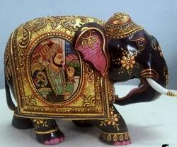 Gold Color Painted Wooden Elephant Statue