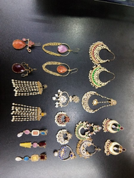 Glass Stone N High Gold Ear Rings