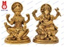 Lord Laxmi & Ganesh Sitting On Lotus W/Shawl Statue
