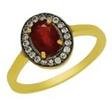 SHRI0089 Natural Glass Field Ruby Silver Ring