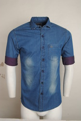 Blue Denim Shirt With White Patches