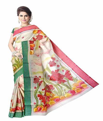 04041d998a BENGAL TANT COTTON FESTIVAL AND OCCASIONS Designer Cotton Sarees, Without  Blouse Piece
