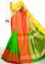Plain Party wear Mahapar Silk Cotton Saree, Blouse Size: 1 m, With Blouse Piece