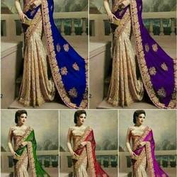 Georgette Embroidered Fancy Saree With Blouse Piece