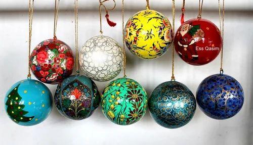 Paper Mache Hanging Christmas Balls - Paper Mache Hanging Christmas Balls - Ess Qasim And Sons, Srinagar