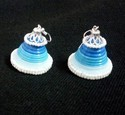 Quilled Sky Blue White Pearl Earring