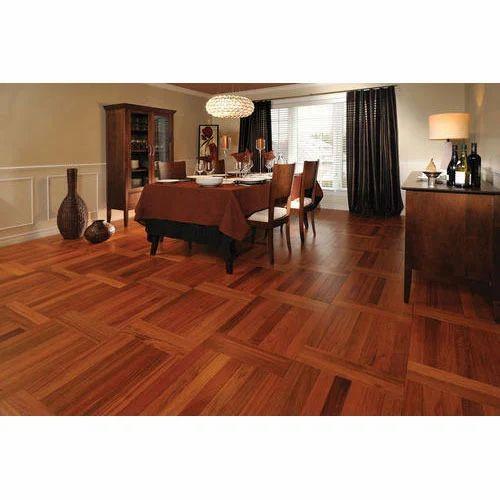 Hardwood Flooring Residential Building Designer Brown Wooden Flooring Service, Karnataka