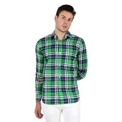Porttrait Men Green And Navy Blue Check Shirt