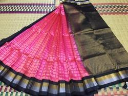 Pink and Black Kuppadam Silk Cotton Saree
