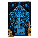 Blue Elephant Tree Of Life Wall Hanging Tapestry