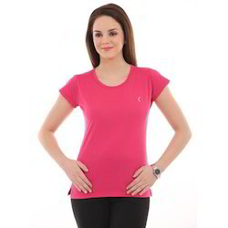 Ladies Pink Round Neck T-Shirts