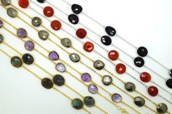 Natural Gemstone Gold Plated Bezel Set Chain
