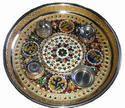 Pooja Dish - German Half Meena With Lamination And Stone
