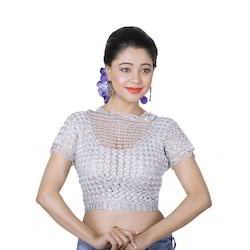 Abhi Crochet Silver Blouse with High Neck