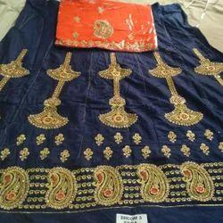 Purohit Blue & Orenge Rajputi Cotton Suit