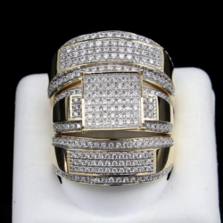 Real Diamond Mens Trio Ring Set In 10k Yellow Gold