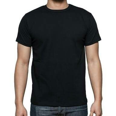Cotton And Polyster Office , Other Black Plain T Shirt, Size ...