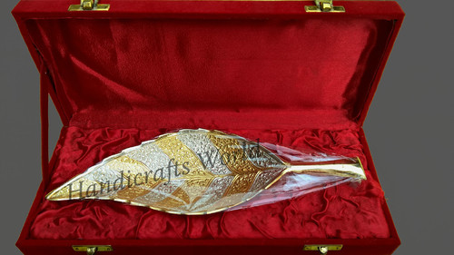 Gold Silver Coated Leaf Shape Brass Tray