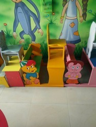 Laxmi Wooden Two Child Chair & Table Set, For Play School