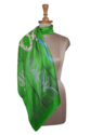 绿色印花方形丝绸围巾,包装类型:塑料袋