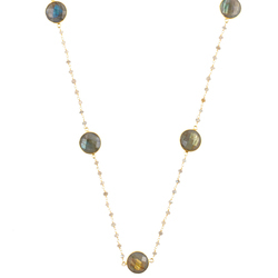 Labradorite Bezel Set Rosary Chain Necklace