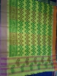 Floral Print Cotton Printed Saree, With Blouse Piece
