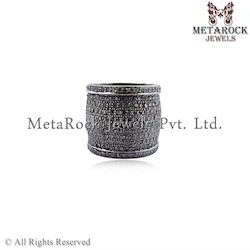 925 Sterling Silver Pave Diamond Band Ring
