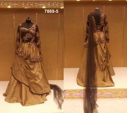 Golden And Mehndi Green Designer Pattern Bridal Dress