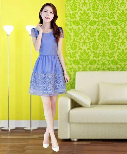 Beautiful Blue Georgette Western Wear Dress