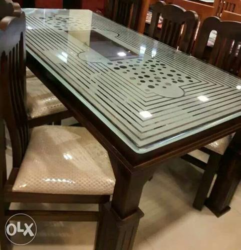 Wallnet Or Natural Dining Table With 6 Chairs Rs 26000 Set Sun Furniture Id 15062682812
