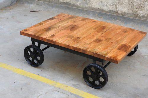 Wood Coffee Table With Wheel Dimension 40 X 40 X 60 Cm Id