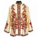 Hand Made Embroidered Cream Short Silk Jacket