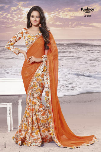 1937a79c589b52 Ambica Georgette Embroidery Fancy Orange Sarees