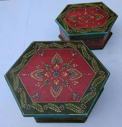 Wooden Handpainted Decor Box Set