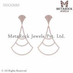 Pave Diamond Rose Gold White Diamond Earring Jewelry