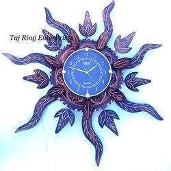 Vintage Wooden Sun Leaf Clock