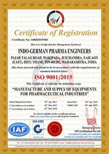 Indo German Pharma Engineers - Manufacturer from Vasai East, Vasai