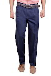 Regular Blue Cotton chinos pleated trousers