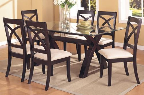 6 Seater Brown Glass Wood Dining Table, Rs 35000 /set ...
