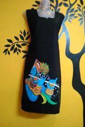 Black Cotton Hand Painted Kurtis