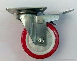 Zinc Plated Plate Type Castor With Red PU Wheel Swivel Break